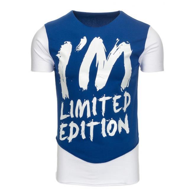 abb66bf33cad Modro-biele športové tričká s nápisom pre pánov - skvelamoda.sk