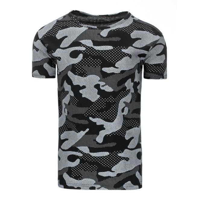 1b7c26bc977b Čierne štýlové tričko s maskáčovým vzorom pre pánov. Pánske maskáčové tričko  s krátkym rukávom v tyrkysovej farbe