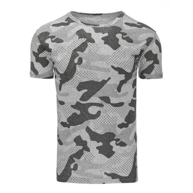 54a2f48552d1 Sivé maskáčové tričko s krátkym rukávom pre pánov - skvelamoda.sk