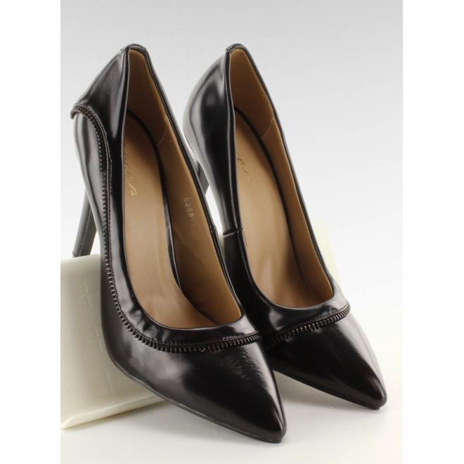 Čierne dámske lodičky s lemovaním vo forme zipsu