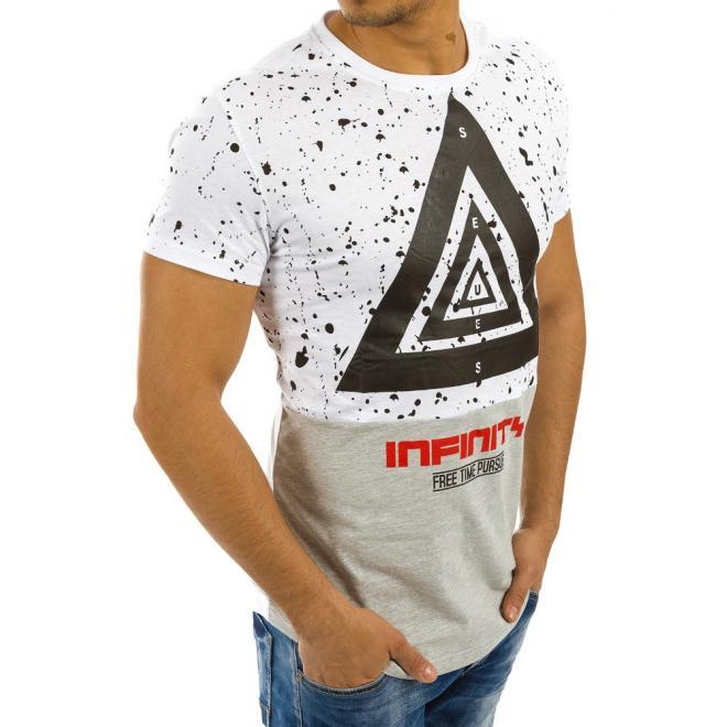 Sivo-biele športové tričká s potlačou pre pánov - skvelamoda.sk f2f1582a123