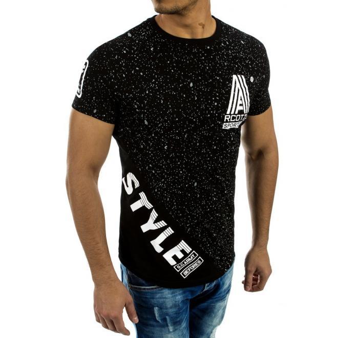 9b6bf1002f5da Štýlové pánske tričko čiernej farby s krátkym rukávom - skvelamoda.sk