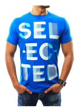 Štýlové pánske tričko modrej farby s nápisom - skvelamoda.sk 2beca3cf761