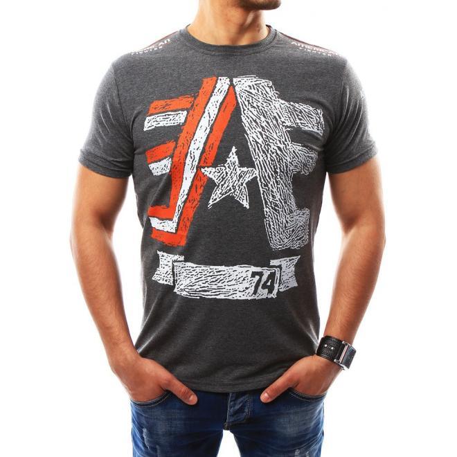 97666c832 Pánske športové tričko s potlačou v tmavosivej farbe - skvelamoda.sk