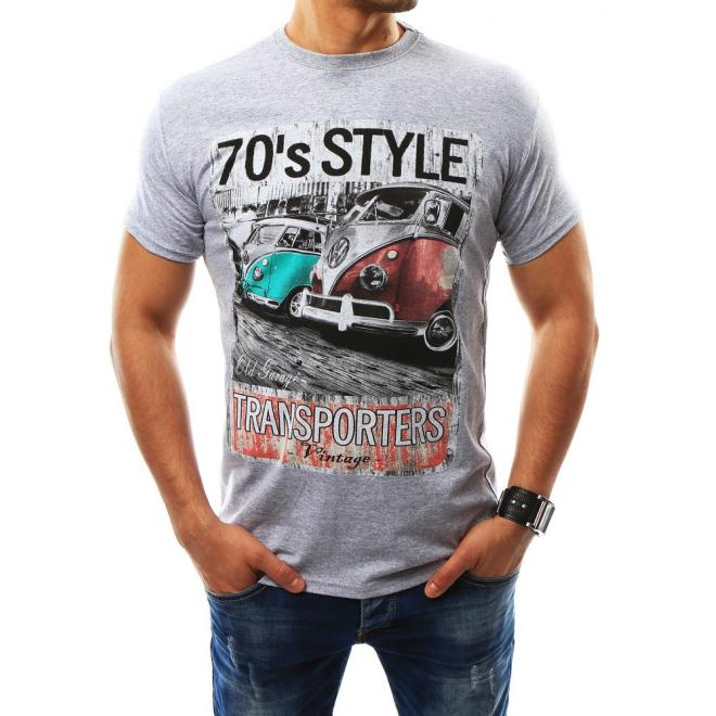a1ff7b091062 Pánske retro tričko s krátkym rukávom v sivej farbe - skvelamoda.sk