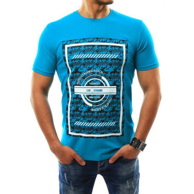 dd4a63a3a924 Štýlové pánske tričko tyrkysovej farby s krátkym rukávom. Tričko pre pánov  v čiernej farbe s potlačou