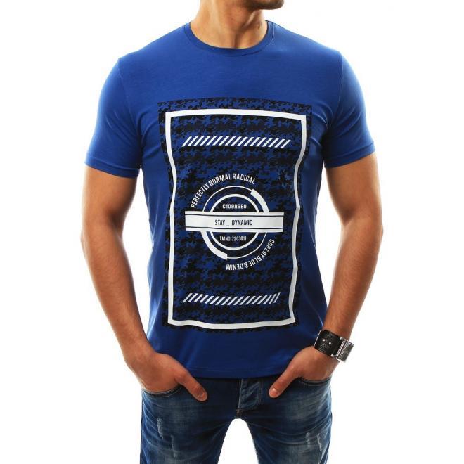 bff5bf43c5 Modré štýlové tričko s krátkym rukávom pre pánov - skvelamoda.sk