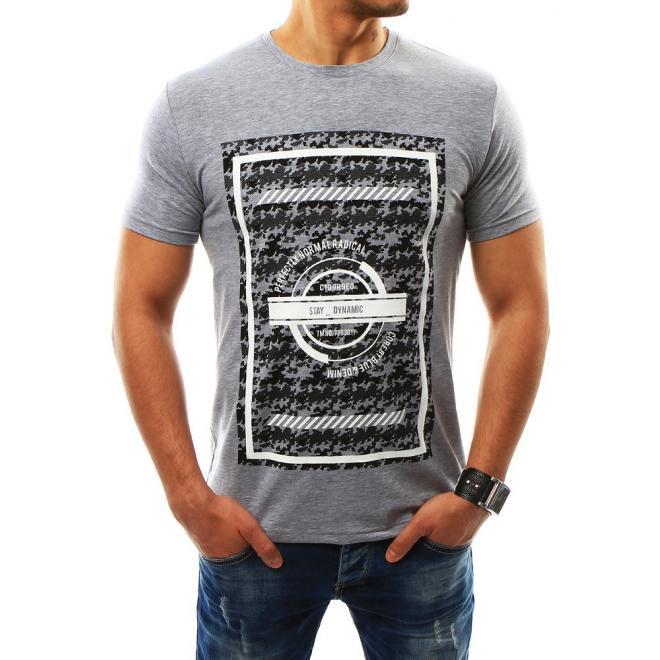 6d5f892cb3 Pánske štýlové tričko s krátkym rukávom v sivej farbe - skvelamoda.sk