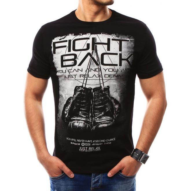 4f9c959aaa7e Čierne štýlové tričko s krátkym rukávom pre pánov - skvelamoda.sk