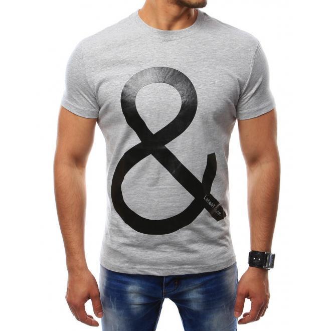 8fc8c3dab Pánske moderné tričko s krátkym rukávom v sivej farbe - skvelamoda.sk
