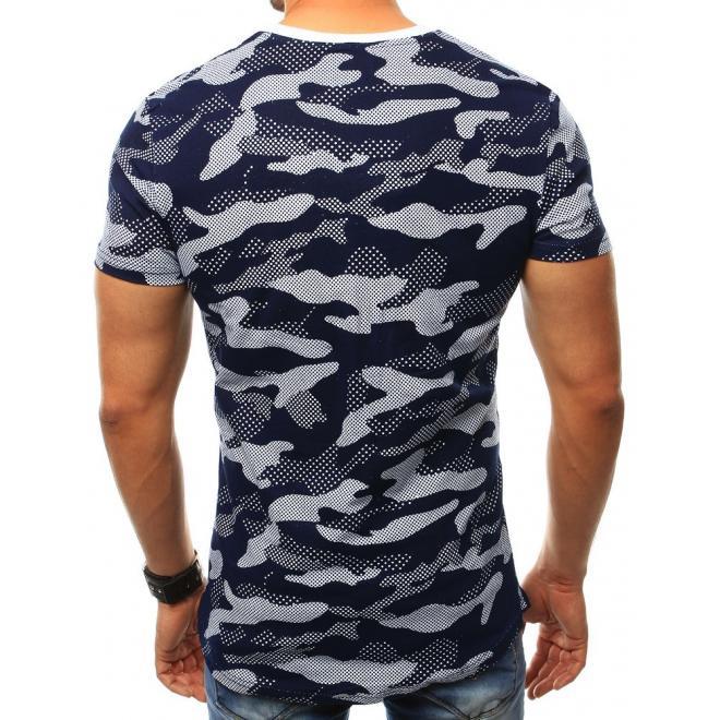 0a3bf3e55eca Športové pánske tričká modro-sivej farby s maskáčovou potlačou ...