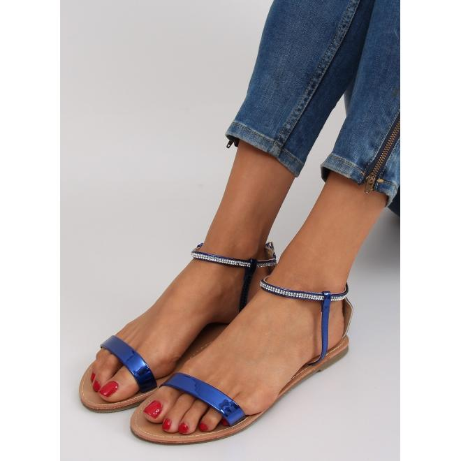 5e8ee413ab12b Dámske elegantné sandále s kamienkami v modrej farbe - skvelamoda.sk