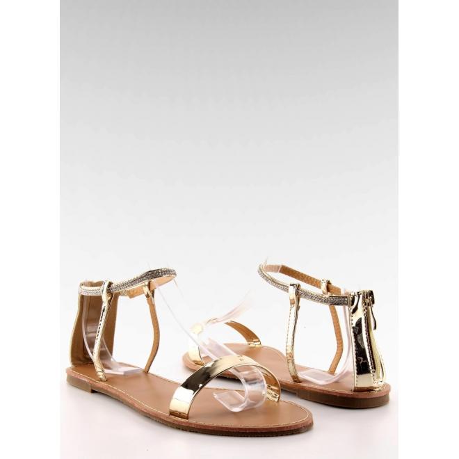 684a6ed9032e9 Zlaté elegantné sandále s kamienkami pre dámy - skvelamoda.sk