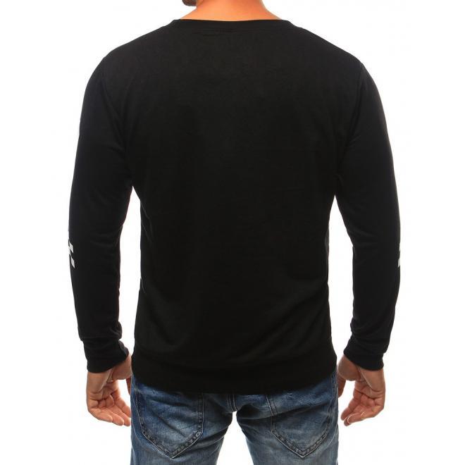 Mikina bez kapucne v čiernej farbe pre pánov