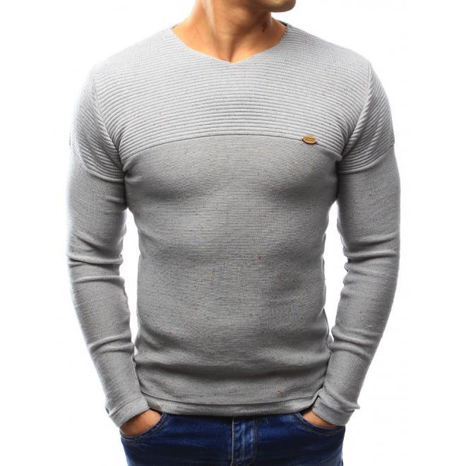Tmavomodrý pánsky sveter s farebnými bodkami a výstrihom V