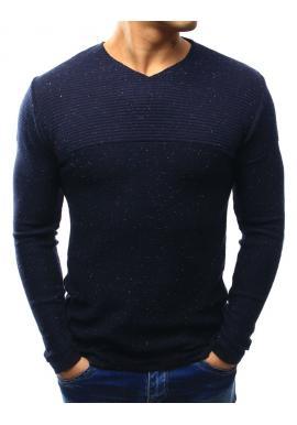 Pánsky biely sveter s výstrihom V a farebnými bodkami