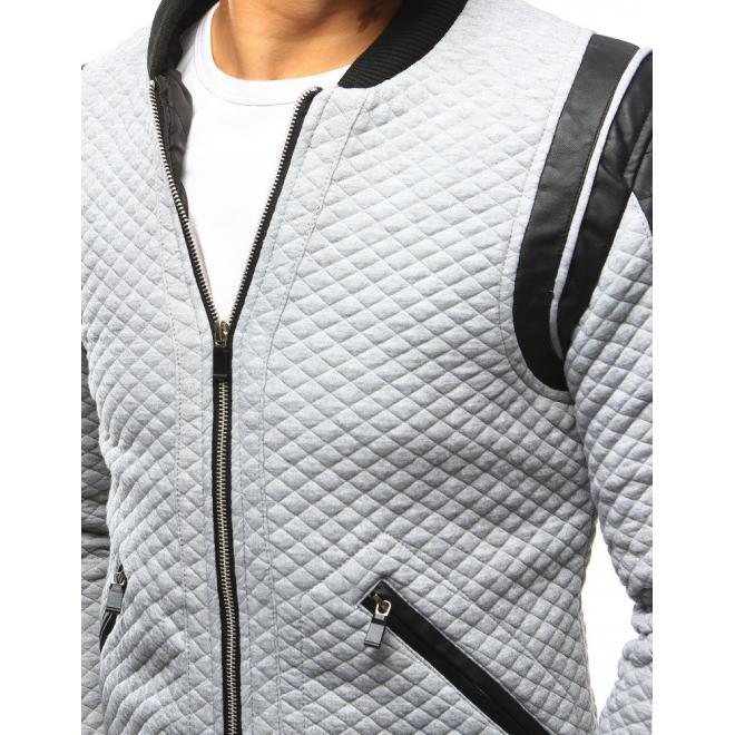 Sivá pánska prešívaná bunda na prechodné obdobie