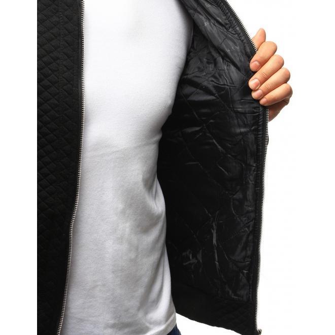 Pánska tmavosivá prechodná bunda s koženými aplikáciami