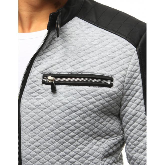 Prechodná pánska bunda sivej farby s koženými aplikáciami