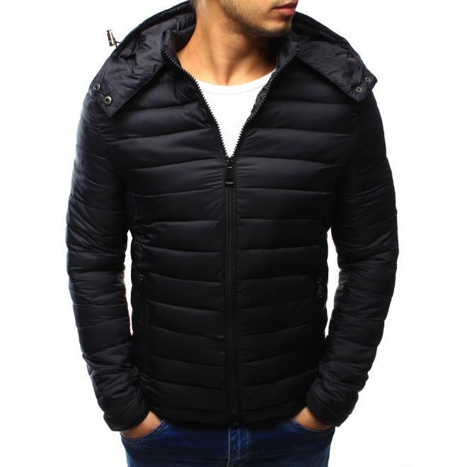 Bunda pre pánov na zimu v čiernej farbe s kapucňou