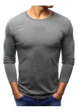 Pánske klasické tričko s dlhým rukávom v tmavomodrej farbe