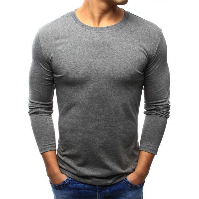 308098b5c Pánske klasické tričko s dlhým rukávom v tmavosivej farbe ...