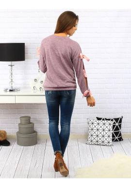 Tričko pre dámy v kaki farbe so zdobenými rukávmi