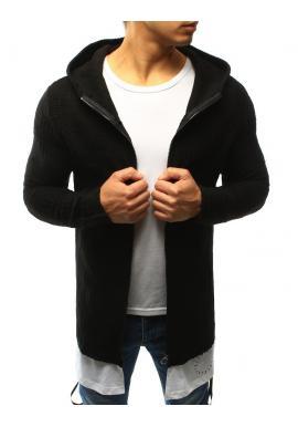 Dlhší pánsky sveter tmavosivej farby s kapucňou