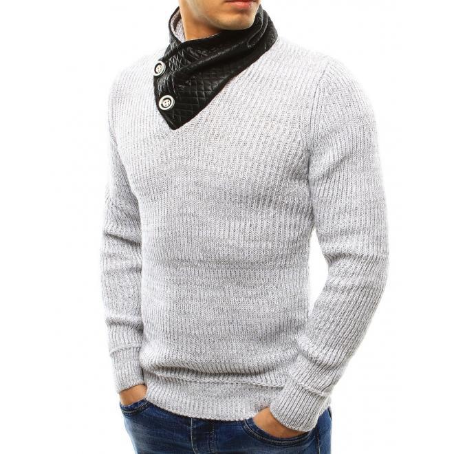 Sivý pánsky sveter s gombíkmi pri golieri