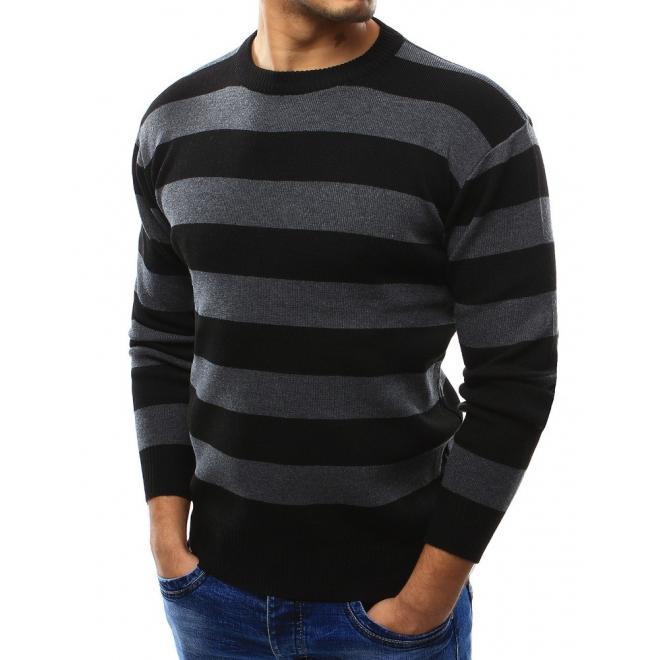 Pánsky sveter sivej farby so širokými pásmi