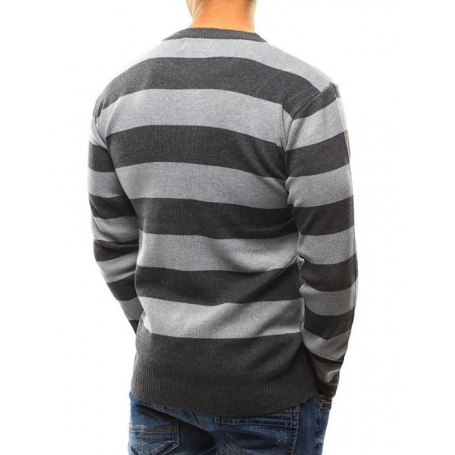 Pásikavý pánsky sveter v sivej farbe