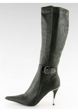 Vysoké dámske čižmy na podpätku v zelenej farbe