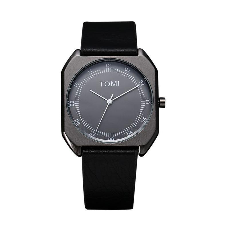 Štýlové pánske hodinky Tomi v čiernej farbe na koženom remienku ... 9a2ff89d01d