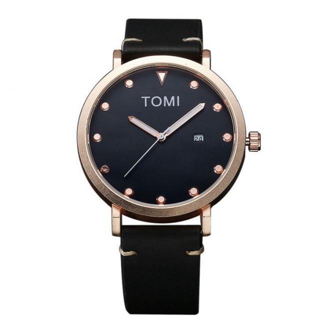 0dc01b44c Pánske módne hodinky Tomi s čiernym ciferníkom v čiernej farbe ...
