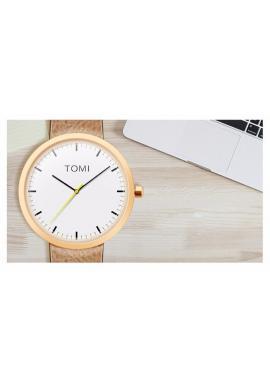 Čierne hodinky Tomi s bielym ciferníkom pre pánov