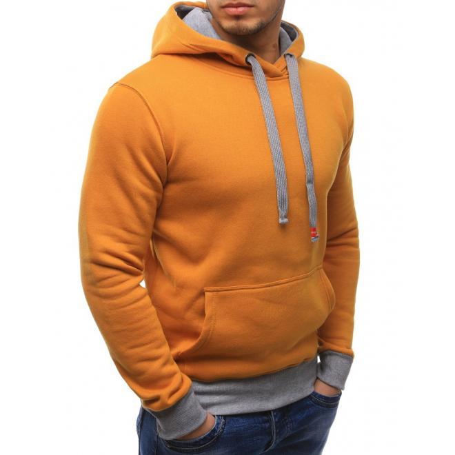 Mikina pre pánov v žltej farbe s kapucňou a sivými prvkami