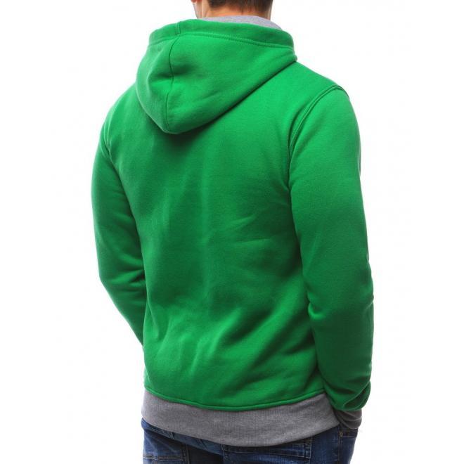 Zelená mikina pre pánov s kapucňou a sivými  prvkami
